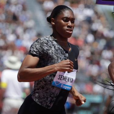 South Africa's Caster Semenya competes in the women's 800-meter race during the Prefontaine Classic, an IAAF Diamond League athletics meeting, in Stanford, California, June 30, 2019.