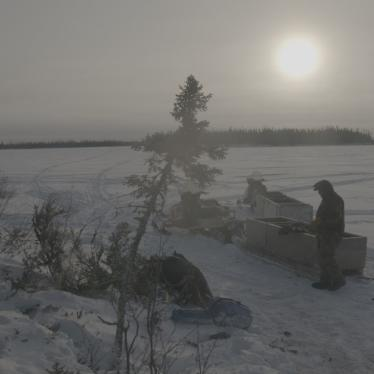 Weenusk First Nation member, Mike Wabano, sets up camp for caribou hunting on a frozen river near Peawanuck, December 14, 2019. As a result of warming temperatures, ice and snow cover is often thinner and more unstable.