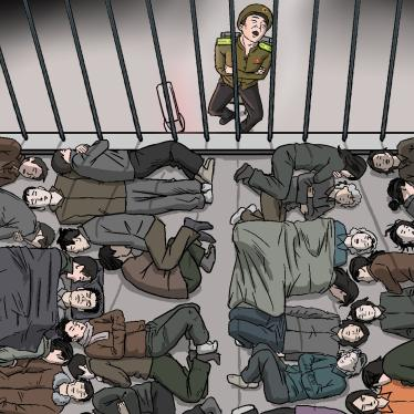 An overhead illustration of people in a crowded jail cell