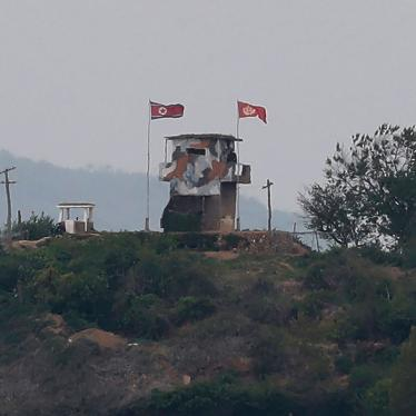 A North Korean flag flutters in the wind at a military guard post seen from the South Korean city of Paju, at the border with North Korea, May 3, 2020.