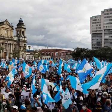Demonstrators take part in a protest demanding the resignation of President Alejandro Giammattei, in Guatemala City, Guatemala, November 21, 2020.