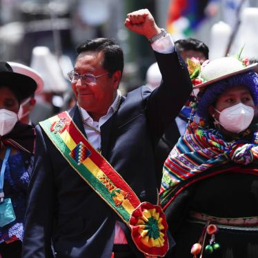 Bolivia's new President Luis Arce leaves the Congress on his inauguration day in La Paz, Bolivia, Sunday, Nov. 8, 2020.