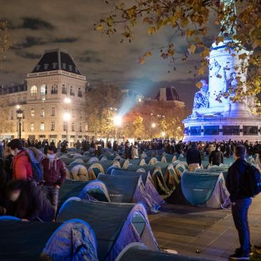 500 tents to shelter migrants were set up on Place de la République in Paris on November 23, 2020, before being violently dismantled by police forces