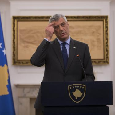 Then-President of Kosovo Hashim Thaçi during a press conference in Kosovo capital Pristina on Monday, Jan. 21, 2019.  ©2019 Visar Kryeziu/AP Photo