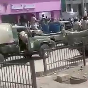 Still image from a video obtained by Human Rights Watch shows three military vehicles, identified by witnesses as belonging to the RSF near Kassala Teaching Hospital, on October 15,2020.