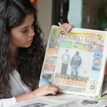"Evelyn Yucailla, 23, a survivor of school-related sexual violence and activist, holds a local newspaper from the city of Ambato, Ecuador. The frontpage headline reads: ""Young teacher is guilty."""