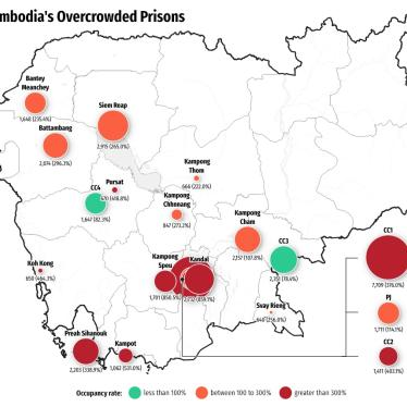 Map showing data on prison overcrowding in 18 out of 28 of Cambodia's prisons.