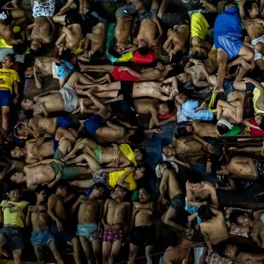 Detainees sleep in an open basketball court inside the Quezon City Jail in Quezon City, Philippines on July 24, 2020.