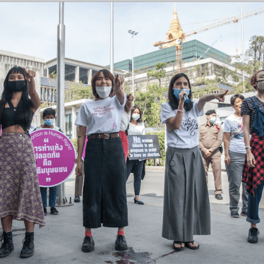 Protesters led by the Woman Help Woman group, the Free Feminist and other women's rights groups march to Parliament to protest Thailand's abortion law, Bangkok, December 23, 2020