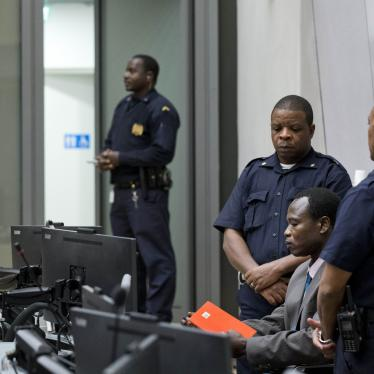 Dominic Ongwen, a senior commander in the Lord's Resistance Army, sits in the court room of the International Court in The Hague, Netherlands