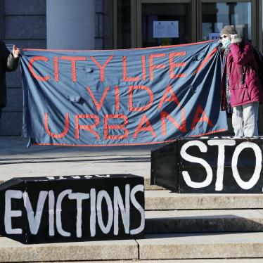 Tenants' rights advocates demonstrate in front of the Edward W. Brook Courthouse in Boston