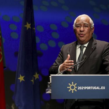 Portugal Prime Minister Antonio Costa at a press conference at the Belem Cultural Center in Lisbon, Friday, January 15, 2021.