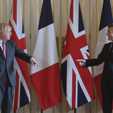 French President Emmanuel Macron, right, and Britain's Prime Minister Boris Johnson, during a visit to 10 Downing Street in London on June 18, 2020.