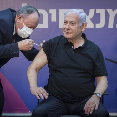 Israeli Prime Minister Benjamin Netanyahu receives the second dose of the Covid-19 vaccine in Ramat Gan, Israel on January 9, 2021.