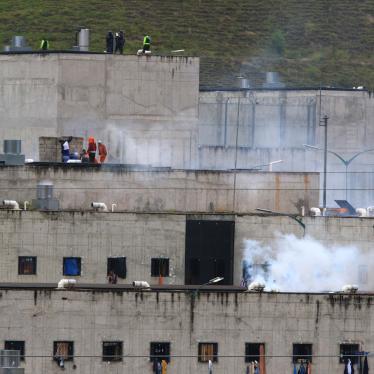 Tear gas rises from parts of Turi jail where an inmate riot broke out in Cuenca, Ecuador, February 23, 2021.