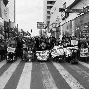 Women with disabilities demonstrate against violence in Mexico City, Mexico, March 8, 2020.