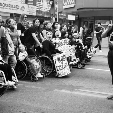 Women with disabilities demonstrating on March 8, 2020 against violence against women.