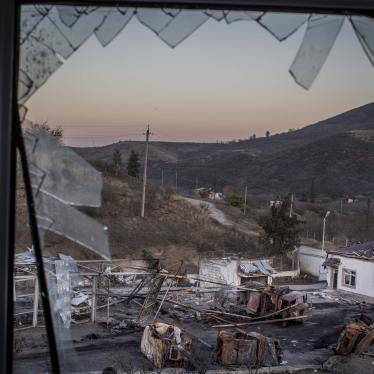 View from the window of the Martakert military hospital, which was struck by Azerbaijani rocket artillery on October 14, 2020.