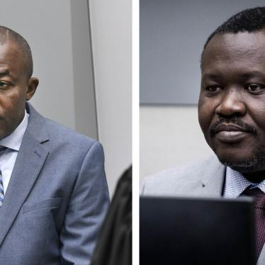 Alfred Yékatom, left, and Patrice-Edouard Ngaïssona, right, taken on Nov. 23, 2018 and Jan. 25, 2019 respectively when they appeared before the International Criminal Court (ICC) in The Hague, Netherlands.