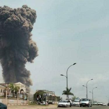 A dark cloud of smoke shown in the aftermath of a series of explosions in Bata, Equatorial Guinea, March 7, 2021.
