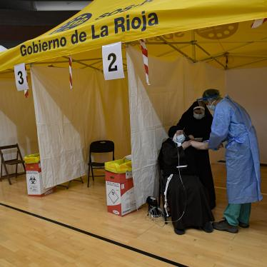 94-year-old Mother Teresa Llona receives a Pfizer vaccine during a Covid-19 vaccination campaign at the bull ring in Arnedo, northern Spain, March 4, 2021.