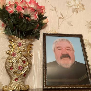 A portrait of Eduard Shakhkeldyan  at the apartment in Stepanakert where his family is temporarily staying.