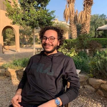 Ahmed Samir Santawy, an anthropology master's student at Central European University (CEU) detained in February 2021.