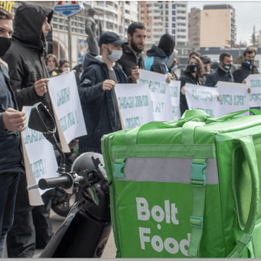Bolt Food couriers protest in Tbilisi, Georgia, on March 24, 2021