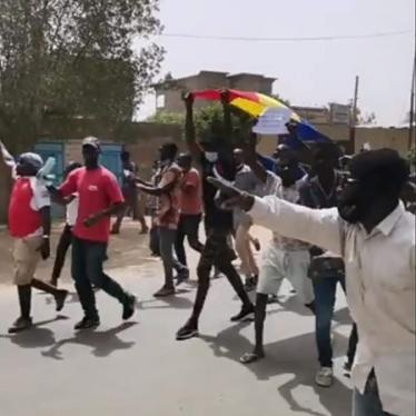 People in the streets of N'Djamena, Chad's capital, protest against President Idriss Déby Itno running for a sixth term in the April 11, 2021 election.