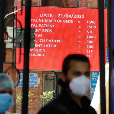 A hospital information board shows non-availability of beds in New Delhi, India, April 21, 2021.