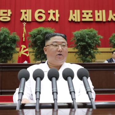 North Korean leader Kim Jong Un delivers a closing speech at the Sixth Conference of Cell Secretaries of the Workers' Party of Korea in Pyongyang, North Korea, April 8, 2021.