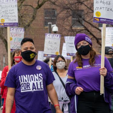 Frontline healthcare workers in Minnesota picket for fair wages.