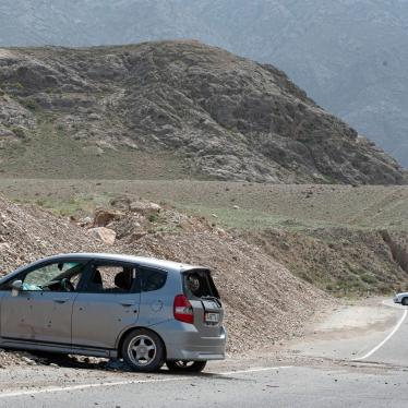 Cars damaged during a firefight on the Kyrgyz-Tajik border are seen near the settlement of Koi-Tash, Batken region, Kyrgyzstan, April 30, 2021.