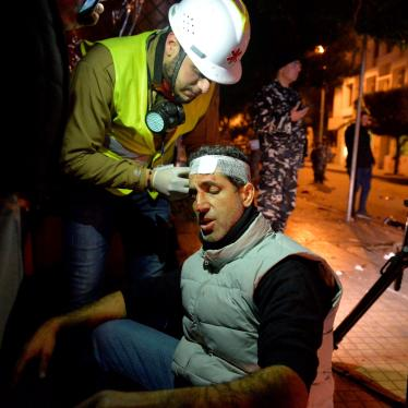 An injured journalist receiving treatment after clashes between security forces and demonstrators during a protest in Beirut, Lebanon on January 14, 2020.