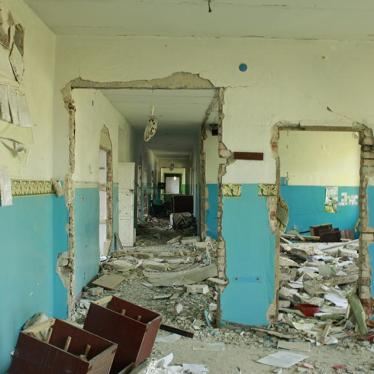 School in Nikishine, eastern Ukraine, damaged during fighting between Ukrainian government and rebel forces from Aug. 2014 to Feb. 2015.