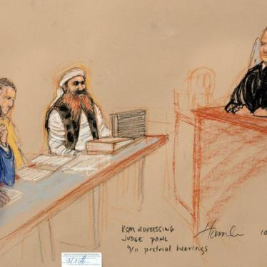 Khalid Sheikh Mohammed, (2nd R) the alleged mastermind of the September 11 attacks, addresses the judge during the third day of pre-trial hearings in the 9/11 war crimes prosecution as depicted in this Pentagon-approved courtroom sketch at the U.S. Naval