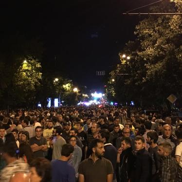 Demonstrators march peacefully in downtown Yerevan on July 30, 2016.