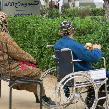 Patients and their relatives waiting outside Morocco's National Institute of Oncology in Rabat, Morocco.