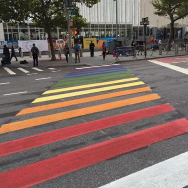 Rainbow cross walk leading to the UN building in New York © 2016 Boris Dittrich/Human Rights Watch