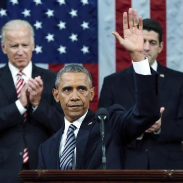 U.S. President Barack Obama waves at the conclusion of his final State of the Union address to a joint session of Congress in Washington January 12, 2016.