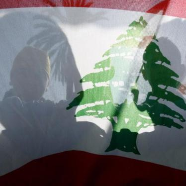 People wave a Lebanese national flag during a protest in Central Beirut December 11, 2006.