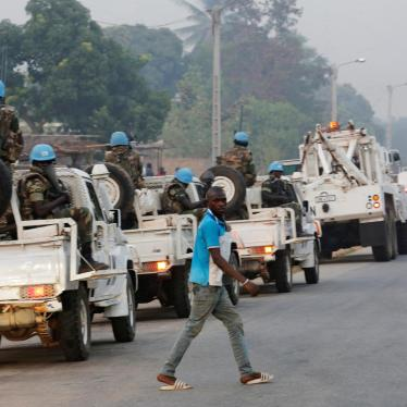 A convoy of United Nation peacekeepers are seen outside Bouake during an army mutiny in which disgruntled Ivorian soldiers seized control of the city. January 6, 2017.