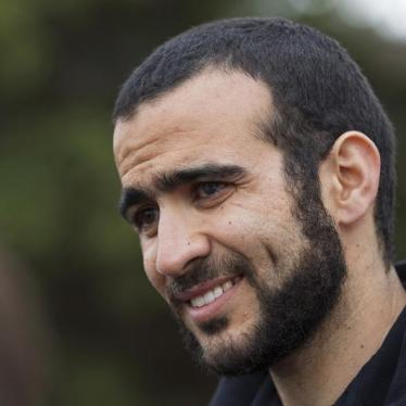 Omar Khadr listens to a question during a news conference after being released on bail in Edmonton, Alberta, May 7, 2015.