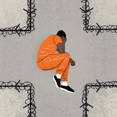 An illustration of a man in a prison uniform lying in fetal position at a crossroads (the roads have barbed wire)