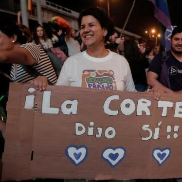 "People celebrate after the Inter-American Court of Human Rights called on Costa Rica and Latin America to recognize equal marriage, in San Jose, Costa Rica, January 9, 2018. The sign reads: ""The court said yes""."