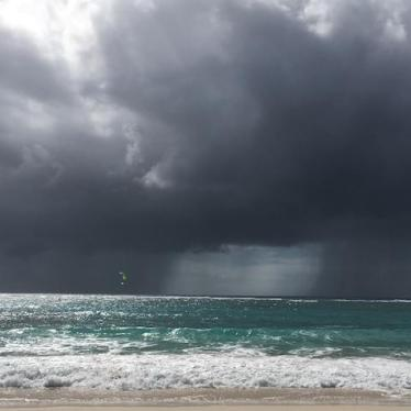 A storm comes ashore in the Eastern Caribbean