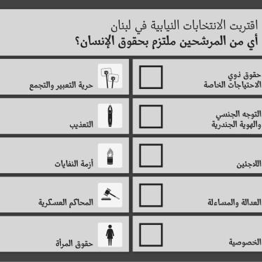 لبنان: على المرشحين الالتزام بحقوق الإنسان
