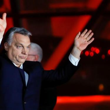 Hungarian Prime Minister Viktor Orbán addresses supporters after the announcement of partial results of the parliamentary election in Budapest, Hungary, April 8, 2018.