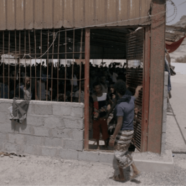 Buraika detention facility for migrants in Aden governorate, Yemen. © 2018 VICE News Tonight on HBO