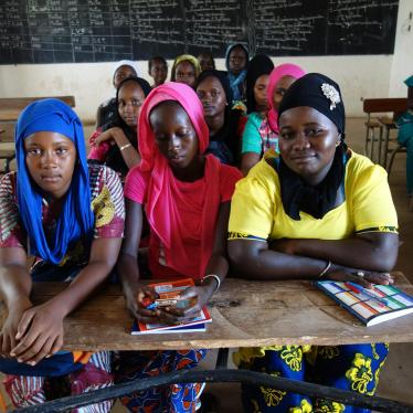 Students enrolled in the final year of lower secondary school in the classroom in a village in Kolda region, southern Senegal. Adolescent mothers and married girls study in this school.